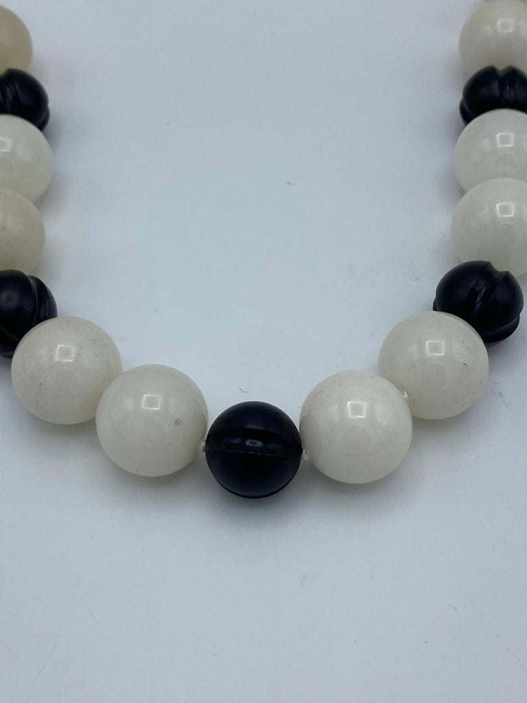 Vintage David Webb Yellow Gold, Onyx and Quartz Bead Necklace  For Sale 1