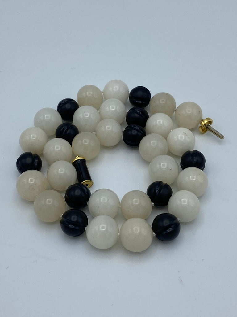 Women's or Men's Vintage David Webb Yellow Gold, Onyx and Quartz Bead Necklace  For Sale