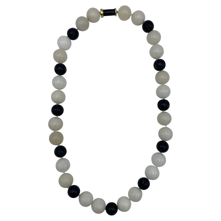 Vintage David Webb Yellow Gold, Onyx and Quartz Bead Necklace  For Sale