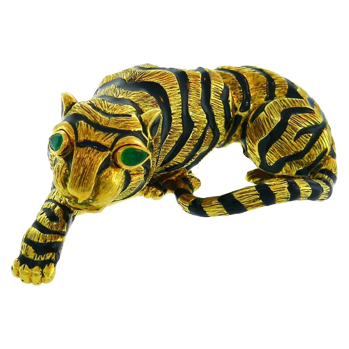 Vintage David Webb Yellow Gold Tiger Pin Brooch Clip Black Enamel Emerald