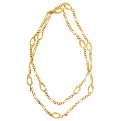 Vintage David Yurman 18 Karat Yellow Gold Classic Cable Oval Link Necklace