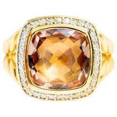 Vintage David Yurman 18 Karat Yellow Gold Morganite and Diamond Halo Albion Ring