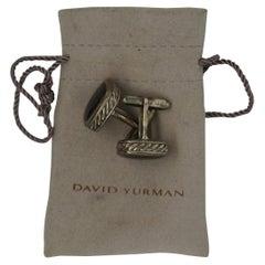 Vintage David Yurman 925 Sterling Silver & Onyx Formal Cable Cufflinks