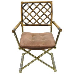 Vintage Daystrom Brass Faux Bamboo Lattice Rattan Directors Armchair Gold