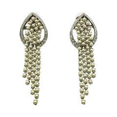 Vintage De Liguoro, Italy Pearl & Crystal Waterfall Earrings 1980s