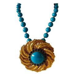 Vintage de Lillo Turquoise Gold Statement Pendant Necklace