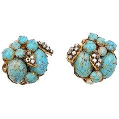 Vintage De Mario Faux Turquoise  Earrings