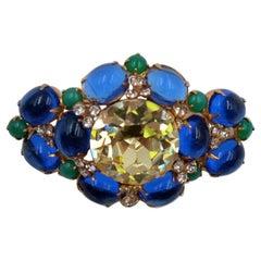 Vintage De Nicola Blue Green Lemon Glass Brooch 1950's