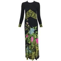 Vintage de Parisini Signed Silk Jersey Floral Print Maxi Dress 1960s