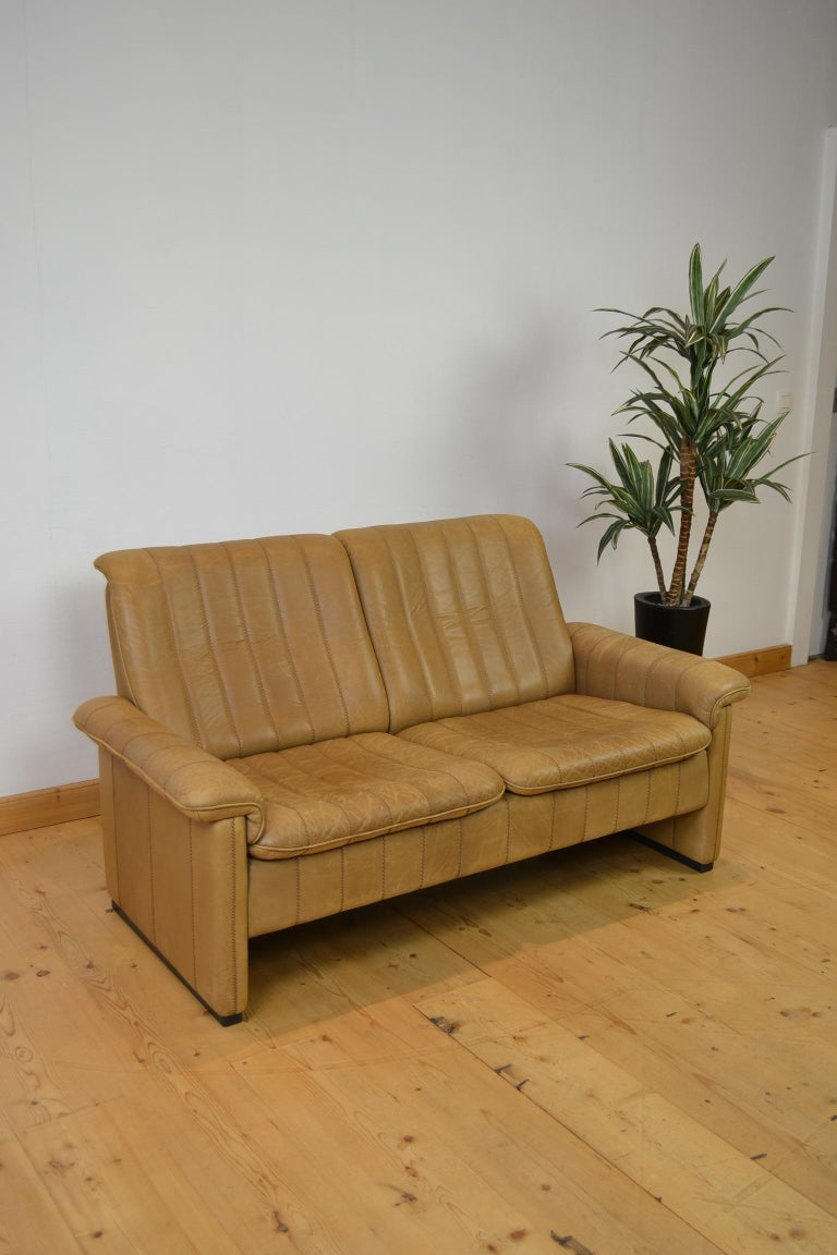 Vintage De Sede 2-Seat Sofa, Brown Leather, Switserland , 1970s For Sale 7