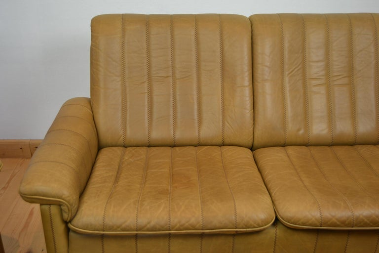 Vintage De Sede 2-Seat Sofa, Brown Leather, Switserland , 1970s In Good Condition For Sale In Antwerp, BE