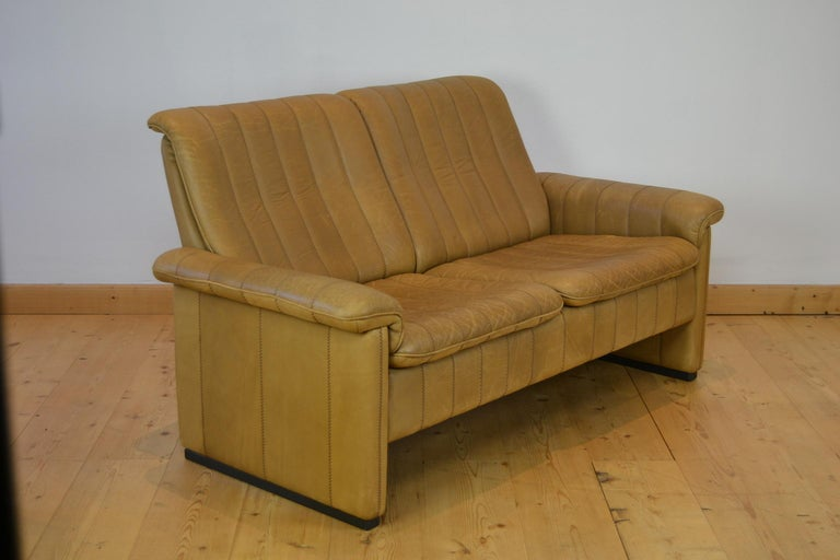 Vintage De Sede 2-Seat Sofa, Brown Leather, Switserland , 1970s For Sale 1