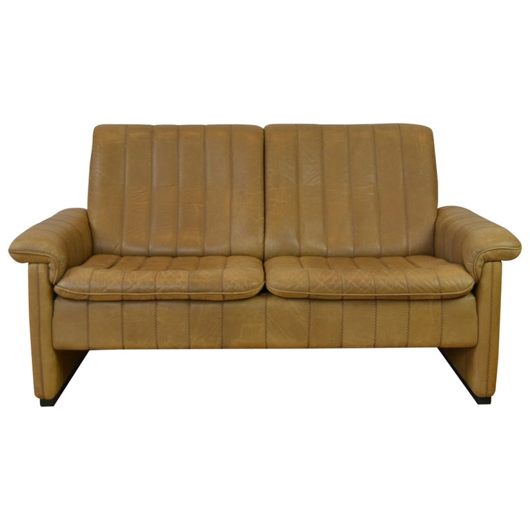 Vintage De Sede 2-Seat Sofa, Brown Leather, Switserland , 1970s For Sale