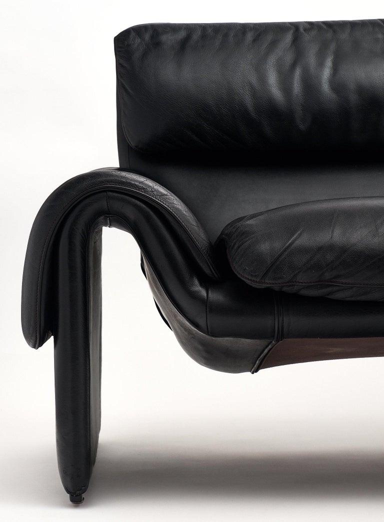 Late 20th Century Vintage De Sede Black Leather Sofa For Sale