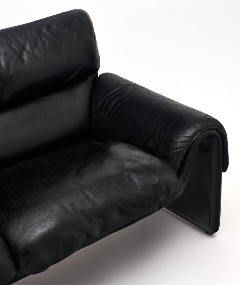 Vintage De Sede Black Leather Sofa For Sale 1