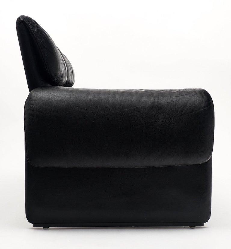 Vintage De Sede Black Leather Sofa For Sale 2