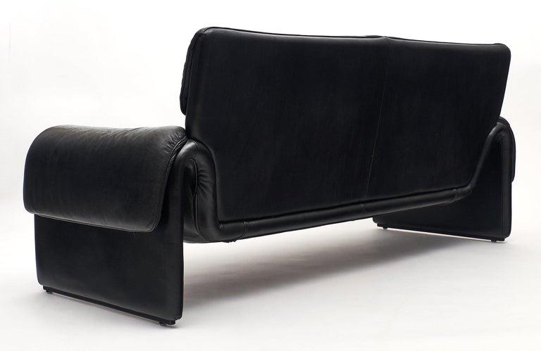 Vintage De Sede Black Leather Sofa For Sale 3