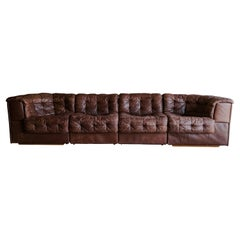 "Vintage De Sede ""DS 11"" Modular Sofa in Brown Leather, 1970's"