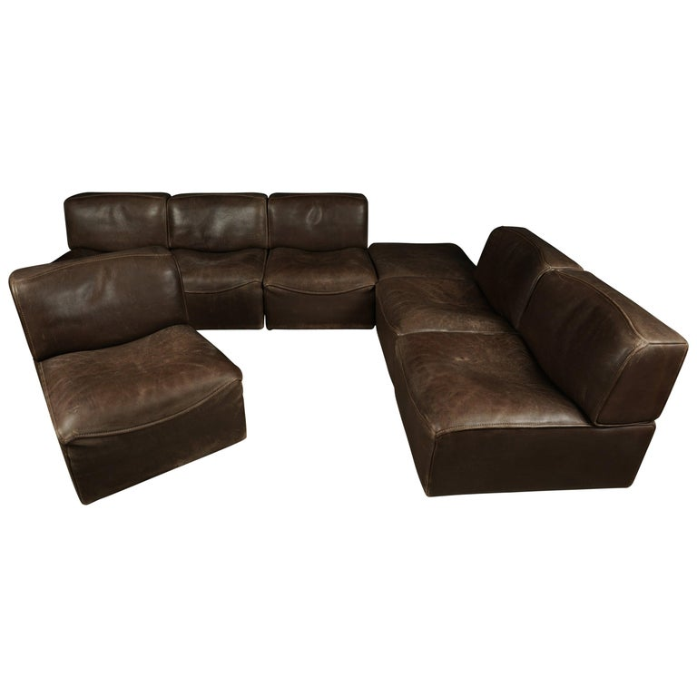 Vintage De Sede 'Ds-15' Modular Sofa in Brown Buffalo Leather from Switzerland For Sale