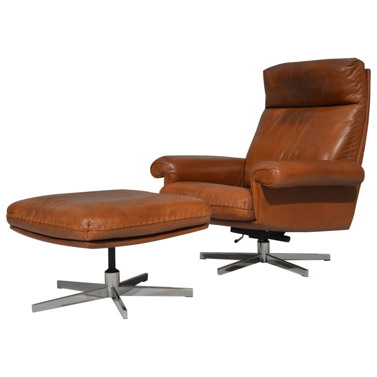 Vintage De Sede DS 31 High Back Leather Swivel Armchair with Ottoman, 1970s