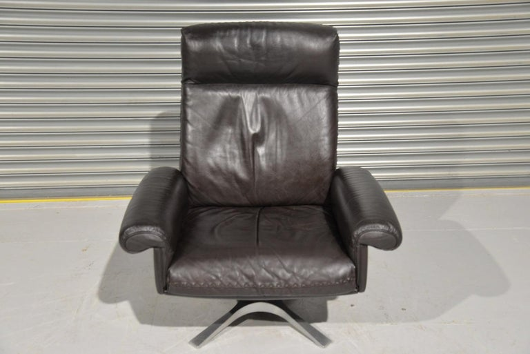 Vintage De Sede DS 31 High Back Leather Swivel Armchair with Ottoman, 1970s 6