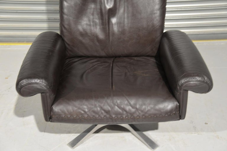 Vintage De Sede DS 31 High Back Leather Swivel Armchair with Ottoman, 1970s 7