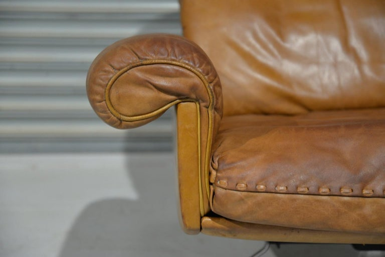 Vintage De Sede DS 31 Leather Swivel Armchair with Ottoman, Switzerland 1970s 8