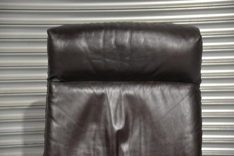 Vintage De Sede DS 31 High Back Leather Swivel Armchair with Ottoman, 1970s 9