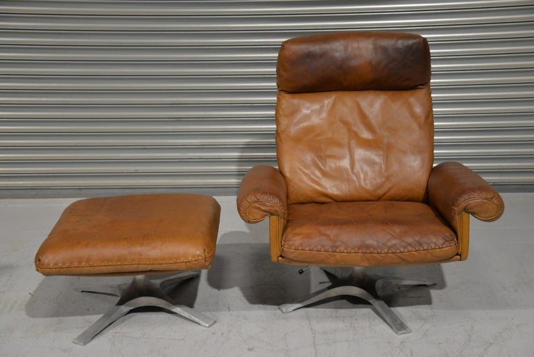 Late 20th Century Vintage De Sede DS 31 Leather Swivel Armchair with Ottoman, Switzerland 1970s