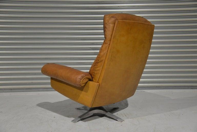 Vintage De Sede DS 31 Leather Swivel Armchair with Ottoman, Switzerland 1970s 2