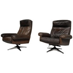 Vintage De Sede DS 31 Highback Swivel Leather Armchairs, Switzerland, 1970s