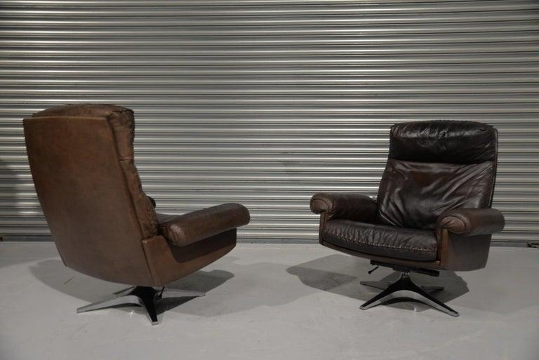 Vintage De Sede DS 31 Highback Swivel Leather Armchairs, Switzerland 1970s 4