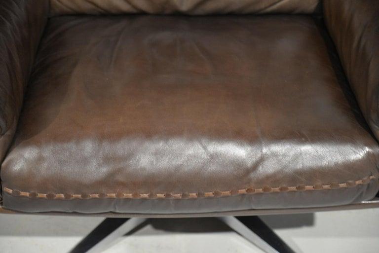 Vintage De Sede DS 31 Highback Swivel Leather Armchairs, Switzerland 1970s 8