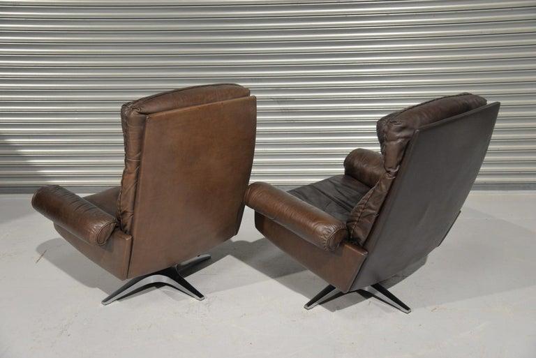 Swiss Vintage De Sede DS 31 Highback Swivel Leather Armchairs, Switzerland 1970s