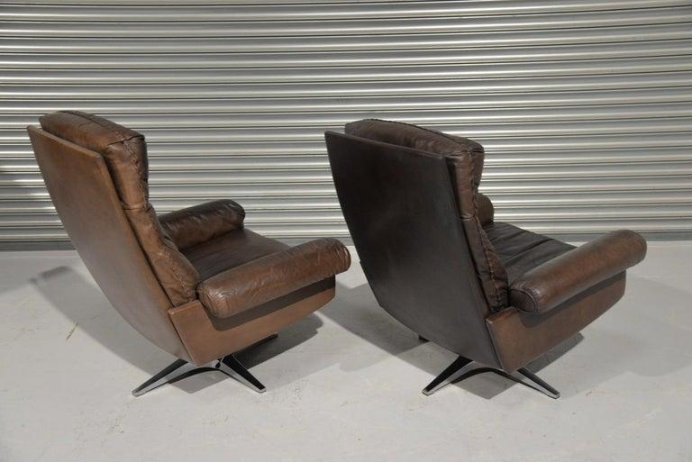 Vintage De Sede DS 31 Highback Swivel Leather Armchairs, Switzerland 1970s In Good Condition In Fen Drayton, Cambridgeshire