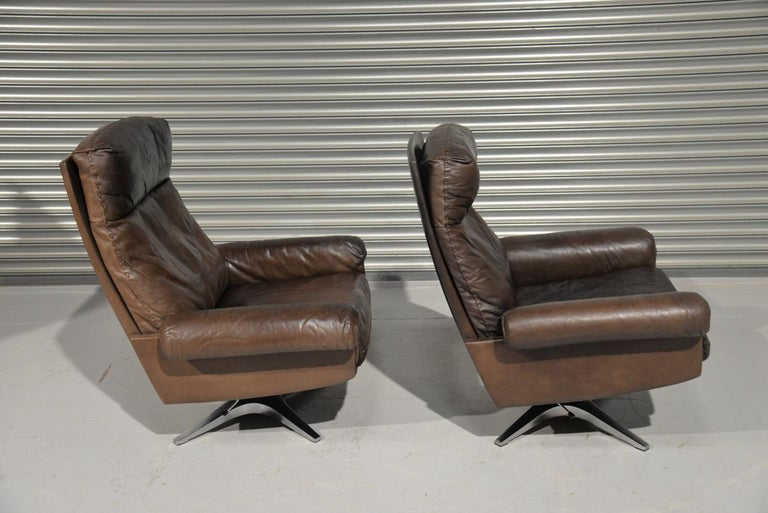 Late 20th Century Vintage De Sede DS 31 Highback Swivel Leather Armchairs, Switzerland 1970s