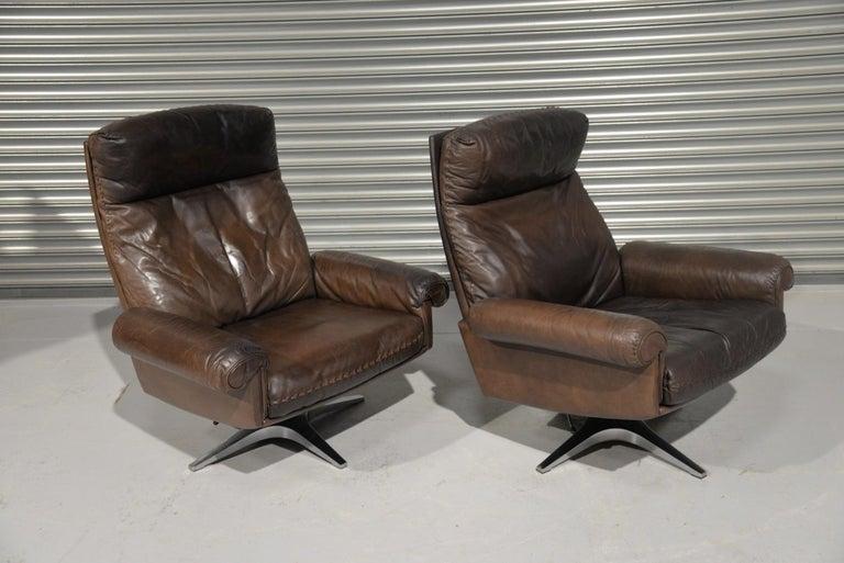 Vintage De Sede DS 31 Highback Swivel Leather Armchairs, Switzerland 1970s 1