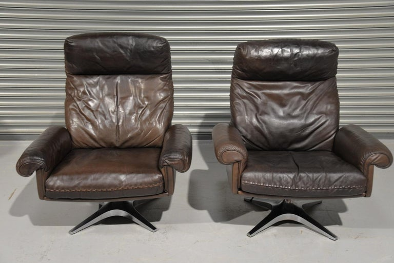 Vintage De Sede DS 31 Highback Swivel Leather Armchairs, Switzerland 1970s 2
