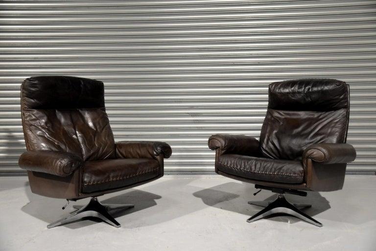 Vintage De Sede DS 31 Highback Swivel Leather Armchairs, Switzerland 1970s 3