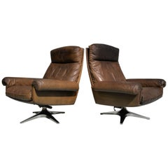 Vintage De Sede DS 31 Highback Swivel Lounge Armchairs with Ottoman, 1970s