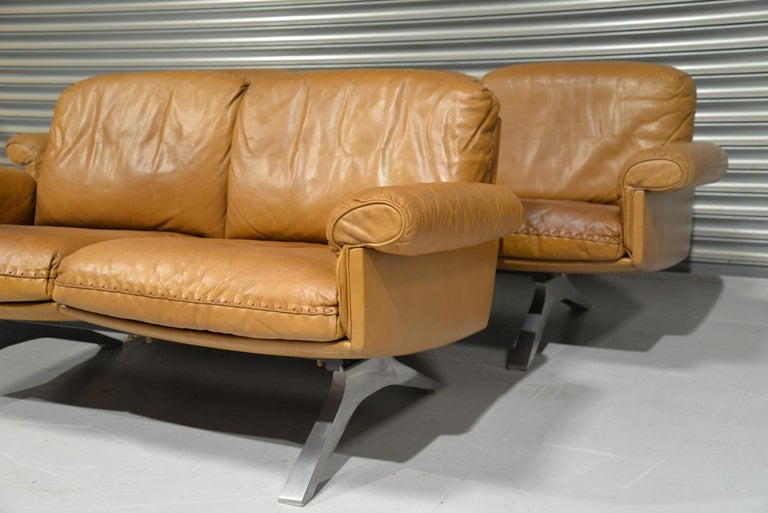 Vintage De Sede DS 31 Leather Sofa and Loveseat, Switzerland 1970s For Sale 3