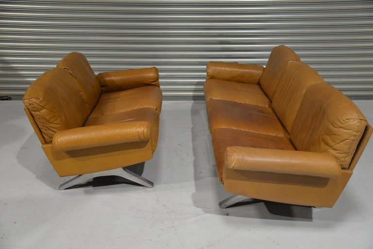 Late 20th Century Vintage De Sede DS 31 Leather Sofa and Loveseat, Switzerland 1970s For Sale