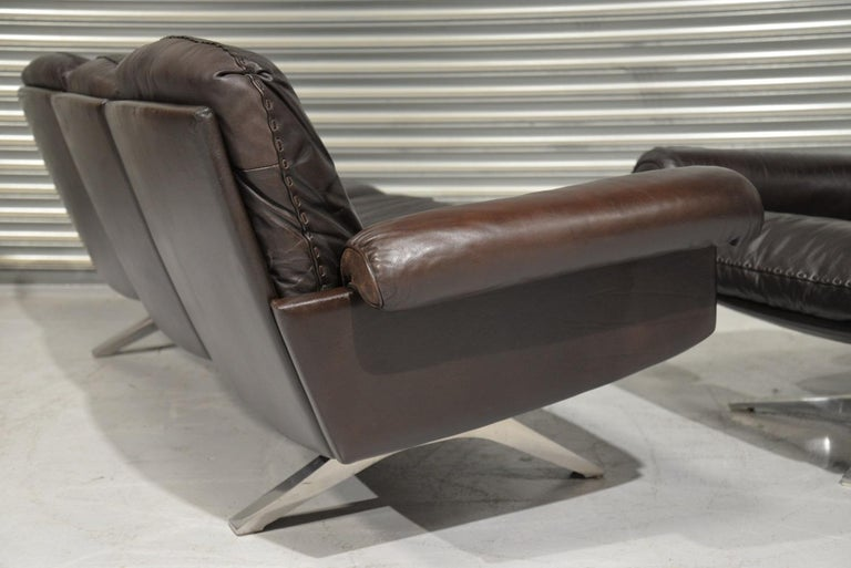 Vintage De Sede DS 31 Leather Sofa and Swivel Armchair, Switzerland, 1970s For Sale 3
