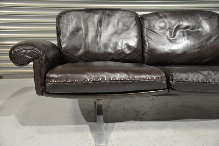 Vintage De Sede DS 31 Leather Sofa and Swivel Armchair, Switzerland, 1970s For Sale 4