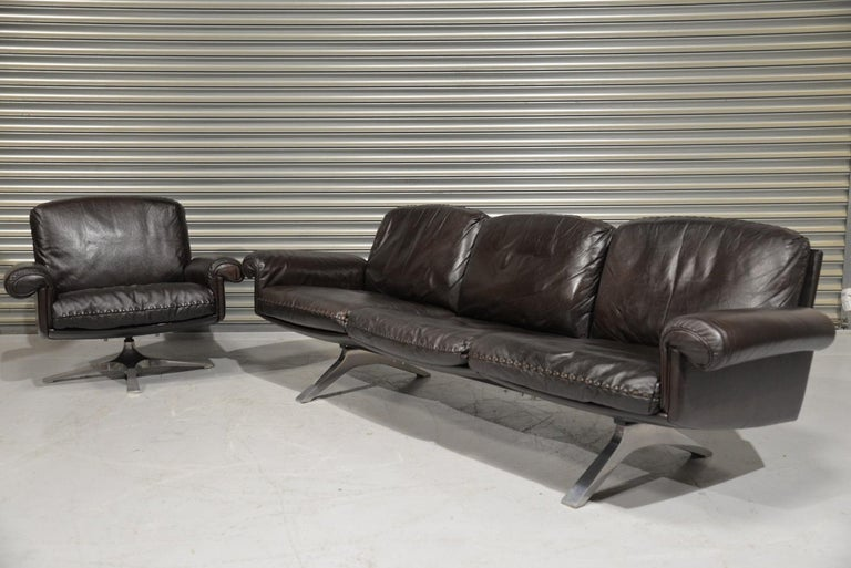 Chrome Vintage De Sede DS 31 Leather Sofa and Swivel Armchair, Switzerland, 1970s For Sale