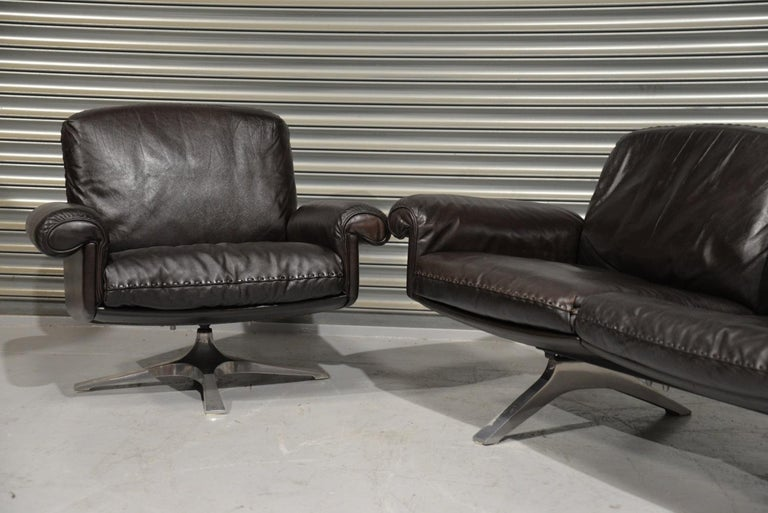 Vintage De Sede DS 31 Leather Sofa and Swivel Armchair, Switzerland, 1970s For Sale 1