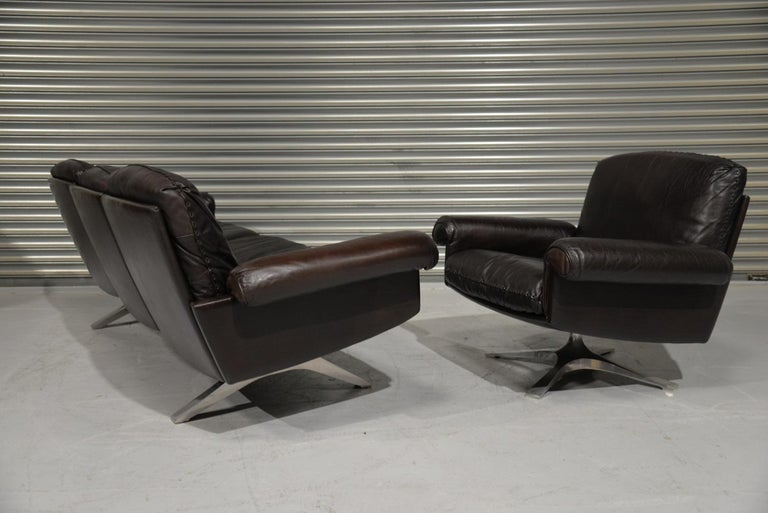 Vintage De Sede DS 31 Leather Sofa and Swivel Armchair, Switzerland, 1970s For Sale 2