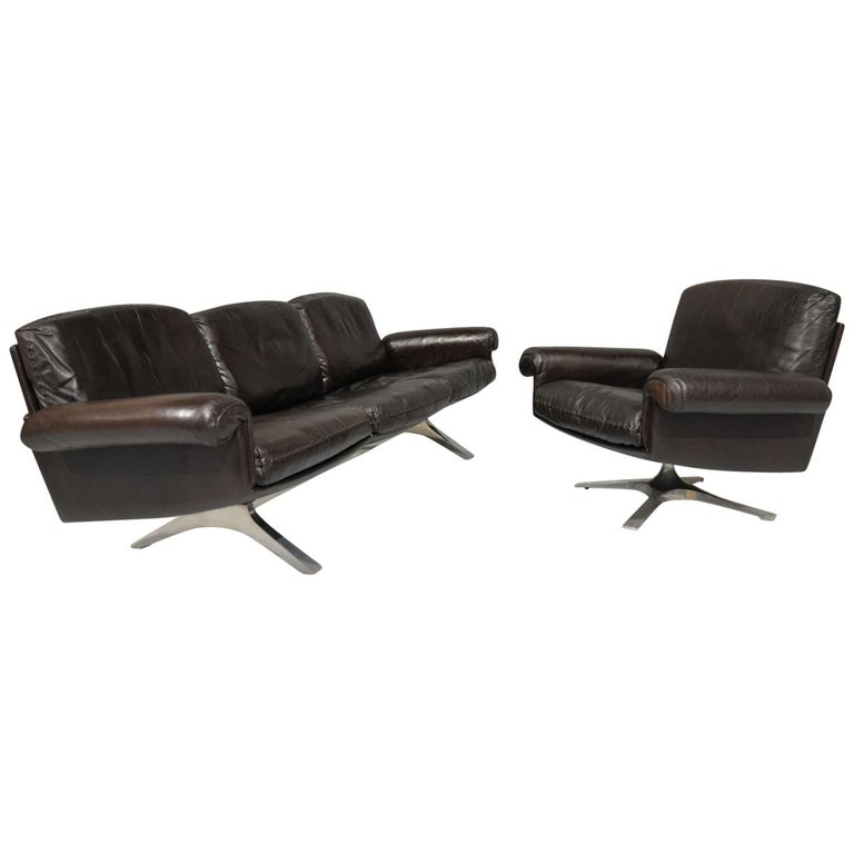Vintage De Sede DS 31 Leather Sofa and Swivel Armchair, Switzerland, 1970s For Sale