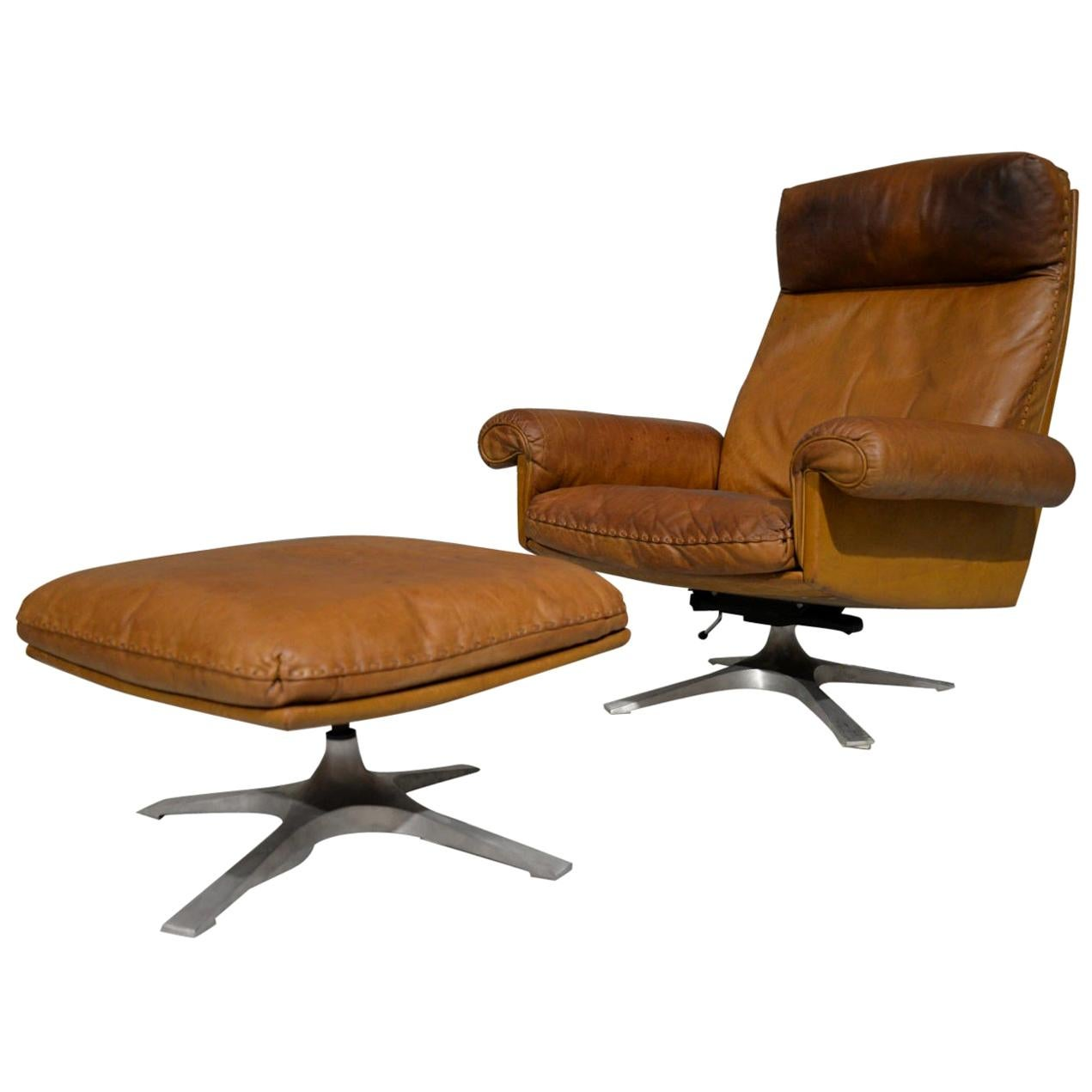 Vintage De Sede DS 31 Leather Swivel Armchair with Ottoman, Switzerland, 1970s