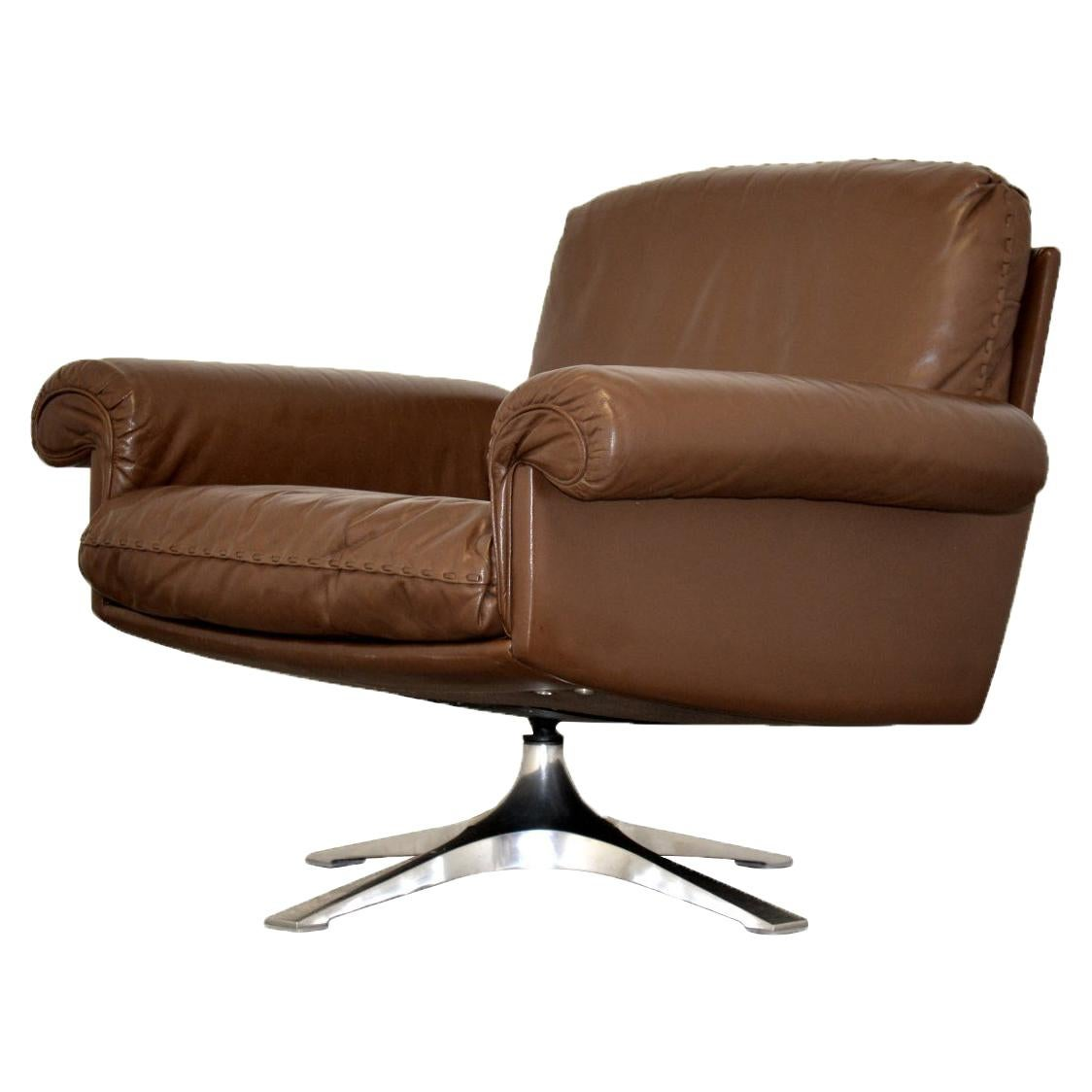 Vintage De Sede DS 31 Leather Swivel Lounge Armchair, Switzerland, 1970s
